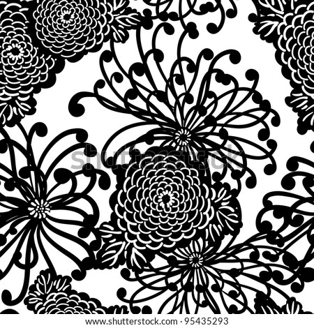 Art Deco Flower seamless pattern, retro style, vector illustration - stock vector