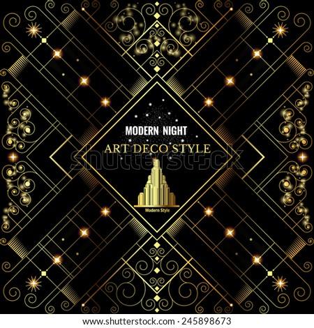 Art deco geometric pattern golden shiny background modern 1920's style - stock vector