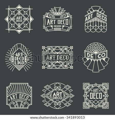 Art Deco Insignias Retro Design Logotypes Template Set Line Art