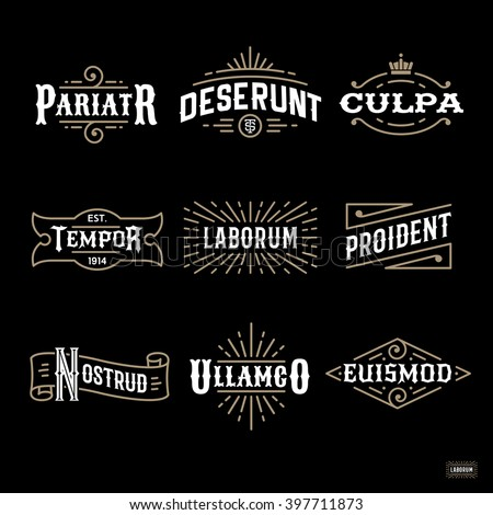 art deco luxury monochrome antique gold hipster vintage linear vector frame , border , label  for your logo, badge or crest for club, bar, cafe, restaurant, hotel, boutique - stock vector