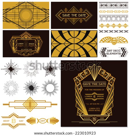 ART DECO OR GATSBY Party Set - for Wedding, Party Decoration, Scrapbooking - in vector - stock vector