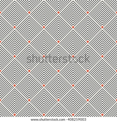 Art deco seamless pattern. Modern stylish texture. Regularly repeating geometrical ornament with thin corner lines, rhombuses. Vector abstract seamless background  - stock vector
