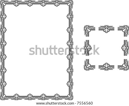 Art Deco Style border frame.  A Vector illustration of a Art Deco Style border frame; comes with seamlessly tillable component parts so you can make a frame to any size or aspect ratio. - stock vector