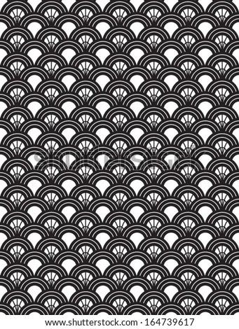 Art Deco Style Repeat Pattern Seamless Wallpaper Monochrome - stock vector