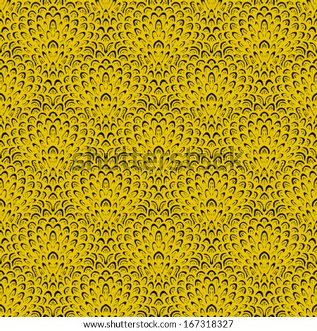 Art deco vector floral pattern in gold and black. Seamless texture for web, print, wallpaper, Christmas gift wrapping, home decor, winter fashion, wedding invitation background, textile design - stock vector