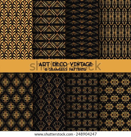 Art Deco Vintage Patterns - 8 Seamless Backgrounds - in vector - stock vector