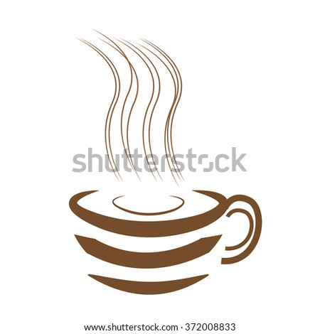 Art design hot coffee with white background - stock vector