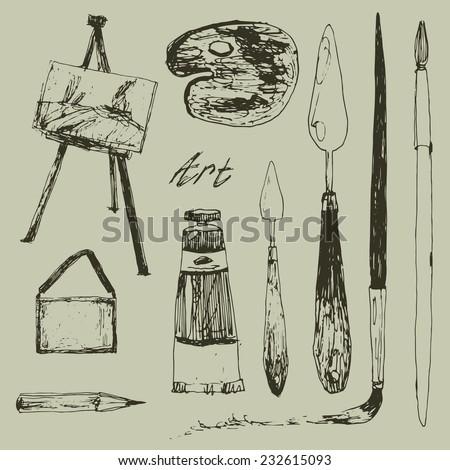 art doodle set  - stock vector