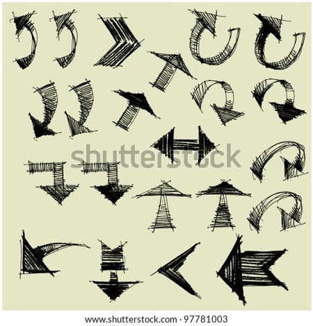 art drawing set of grunge arrows, sketchy vector - stock vector