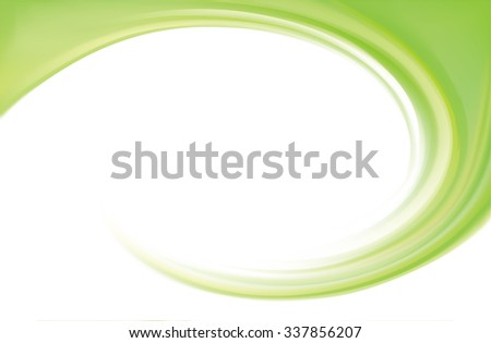 Art fancy modern elegant wonderful wavy eddy futuristic pea color fond of glossy rippled curvy spraying surface. Closeup view with space for text in glowing white center in middle of funnel - stock vector
