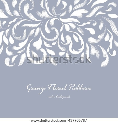 Art floral background. Floral border element of brush strokes. Vector background - stock vector