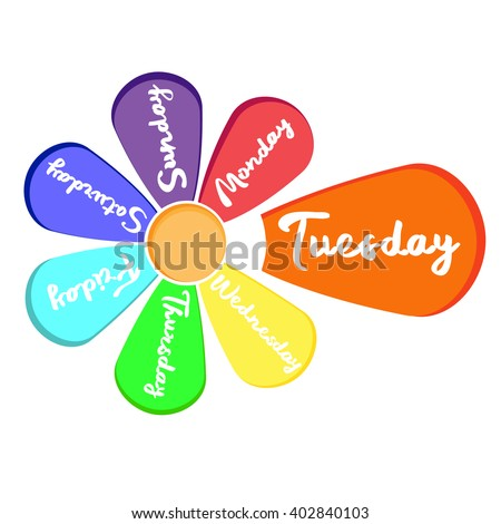 Art flower design with 7 petal days of week with main word  tuesday - stock vector