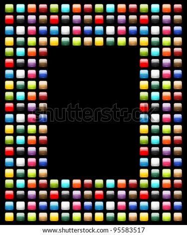 Art frame decorated from glossy buttons - stock vector