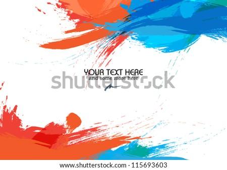 art frame vector with brush strokes - vector illustration - stock vector