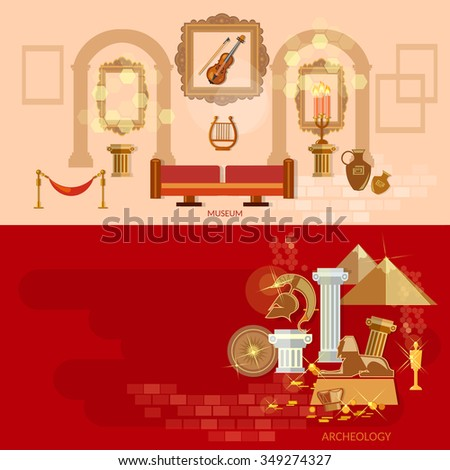 Art gallery antique museum exhibition ancient civilizations world culture banners - stock vector
