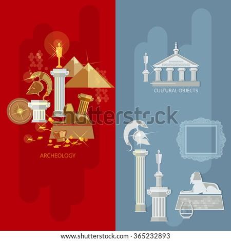 Art gallery banners antique museum exhibition ancient civilizations world culture vector illustration  - stock vector