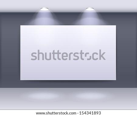 art gallery frame design with spotlights - stock vector