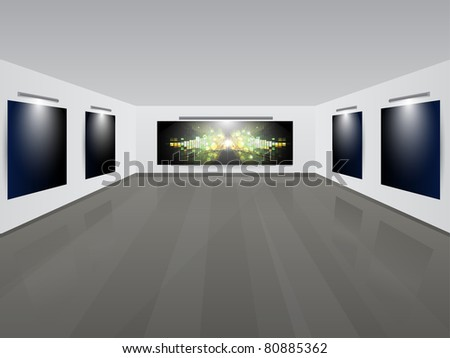 Art Gallery | Showroom with background.Vector illustration. - stock vector