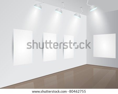 Art Gallery | Showroom with blank frames, spotlights and place for your text. Vector illustration. - stock vector