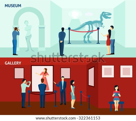 Art gallery visitors and antique museum of paleontology 2 flat banners composition poster abstract isolated vector illustration - stock vector