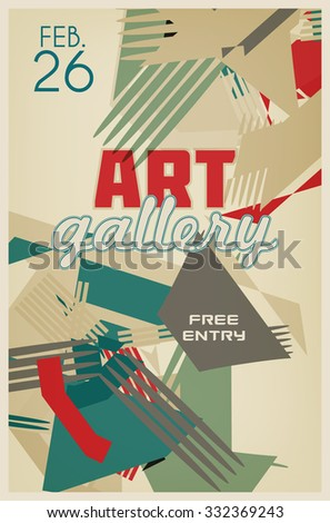 Art graphic retro poster with abstraction. Template of vector flyer - stock vector