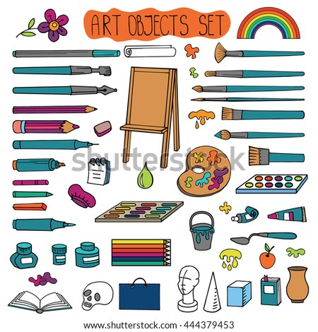 Art hand drawn supplies,instruments set.Vector doodle symbols,objects for painting,drawing, sketching. Isolated colored tools.Art background,illustration - stock vector