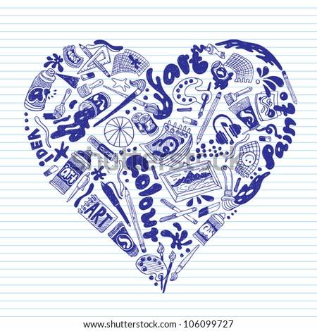 art heart - stock vector