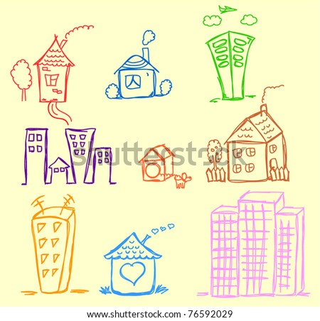 art houses for your design - stock vector