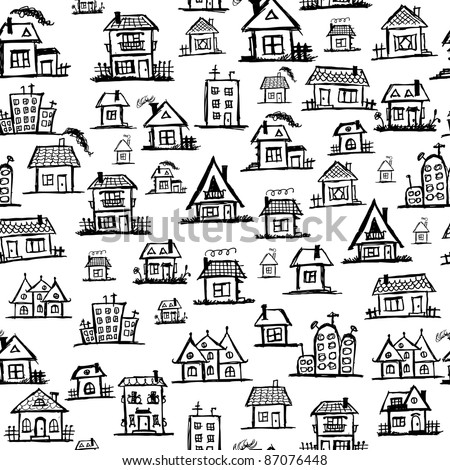 Art houses, seamless background for your design - stock vector