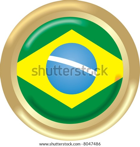 art illustration: round gold medal with the flag of brazil - stock vector
