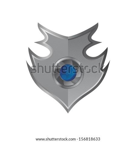 art lens inside shield - stock vector