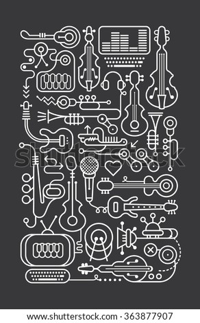 Art line on a dark grey background music shop vector illustration. - stock vector