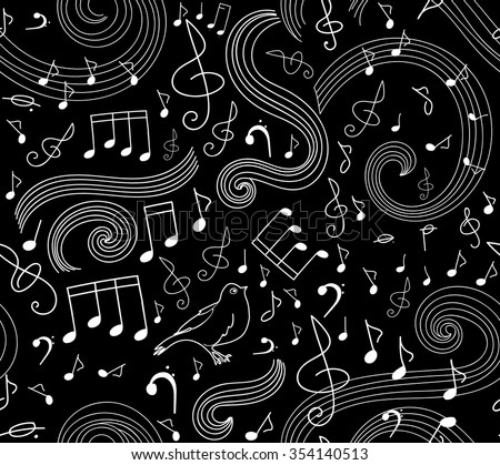 Art musical seamless vector pattern with notes and singing birds - stock vector
