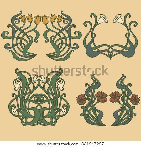 Art nouveau and art deco floral ornaments, modern and jugendstil vintage elements vector - stock vector
