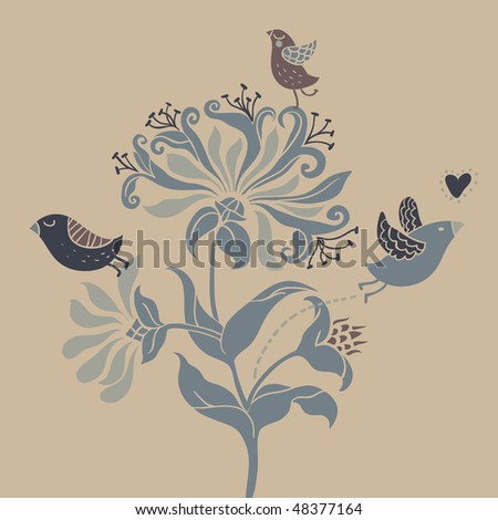 Art nouveau in retro colors - stock vector
