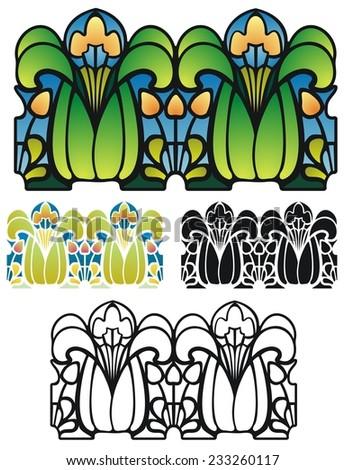 Art Nouveau style border ornament - stock vector