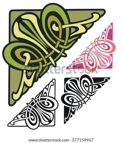 art nouveau style corner ornament with variations  - stock vector