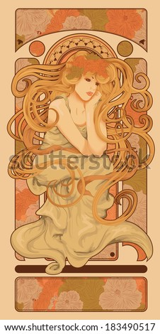 Art Nouveau styled woman with long flowing hair design - stock vector