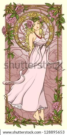 Art Nouveau woman in vertical floral border - stock vector