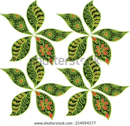 art of batik floral pattern design on the green. - stock vector
