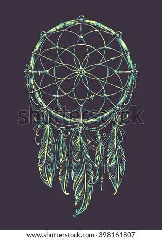 Art of traditional indian dream catcher. Variation with acid colors. Grunge vector illustration. - stock vector