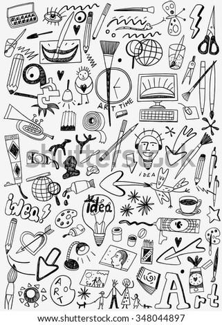 art paint tools doodles  - stock vector