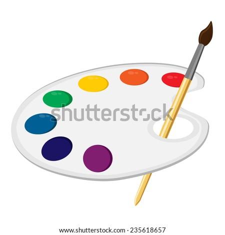 Art palette, paint palette, art supplies, color palette, palette vector - stock vector