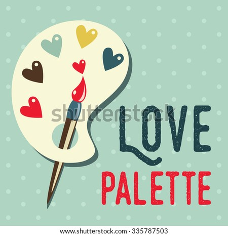 Art palette with paint brush flat icon,can be used as a poster - stock vector