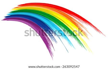 Art rainbow color brush stroke paint draw background - stock vector