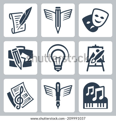 Art related vector icons set: pencraft, dramatics, portfolio, creative, painting, music-making - stock vector