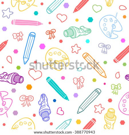 Art school seamless pattern. Colorful on black background. Good for textile fabric design, wrapping paper and website wallpapers. Vector illustration. - stock vector