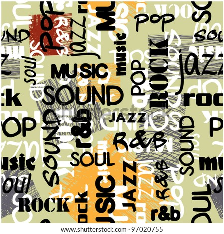 art seamless graffiti background pattern with music words - stock vector