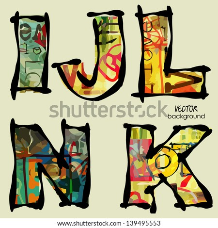 art set of stylized sketch alphabet in vector, rainbow font - stock vector