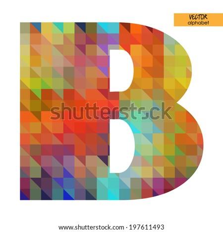 art simple alphabet in vector, rainbow geometric font, letter B - stock vector